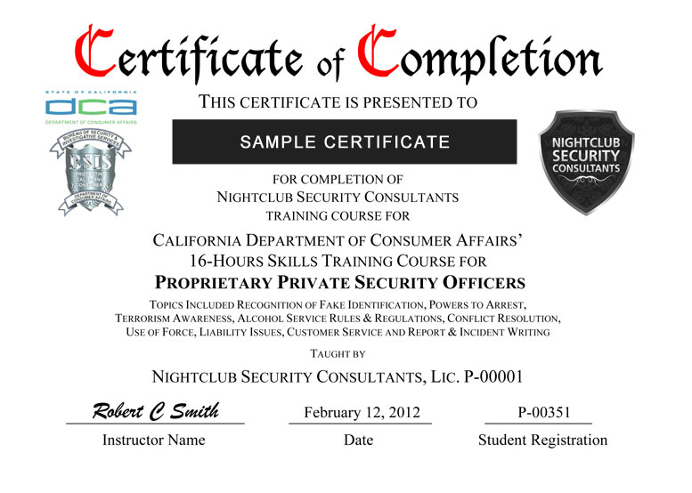 Certificate Delivery Nightclub Security Consultants